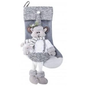 Sviatočná sivo biela dekoračná mikulášska čižma