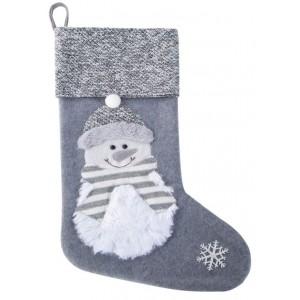Sivo biela dekoračná mikulášska čižma so snehuliakom