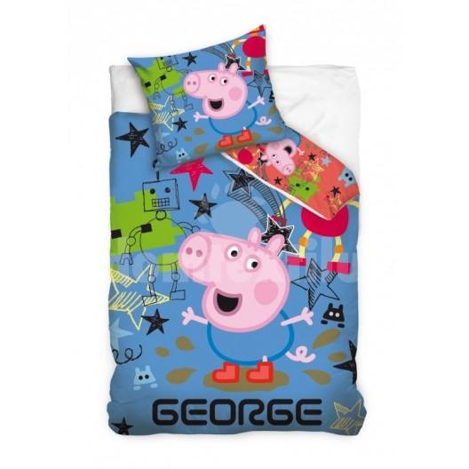 Modrá obliečka na posteľ s detským motívom prasiatka