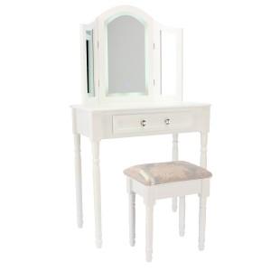 Luxusný toaletný stolík v bielej farbe s praktickým LED osvetlením