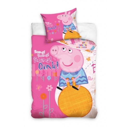 Ružové obliečky na detskú posteľ s prasiatkom