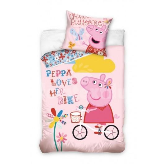 Peppa ružová obliečka na posteľ s detským motívom