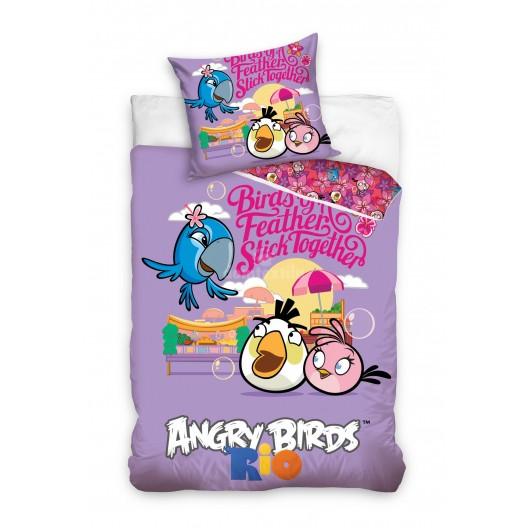 Fialové detské obliečky na posteľ Angry Birds