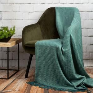 Hrejivá mentolovo tyrkysová akrylová deka so strapcami 130 x 170 cm