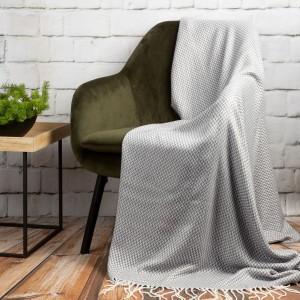Krásna svetlo sivá deka s rybím vzorom a strapcami 130 x 170 cm