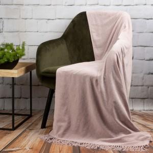 geniálna svetlo ružová akrylová deka s ozdobnými strapcami