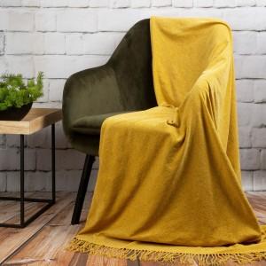 Medovo žltá ľahká akrylová deka 130 x 170 cm
