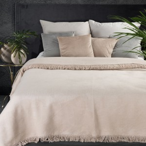 Hrubá béžová jednofarebná akrylová deka