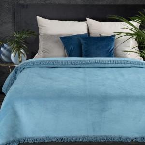 Krásna nebesky modrá hrubá akrylová deka so strapcami