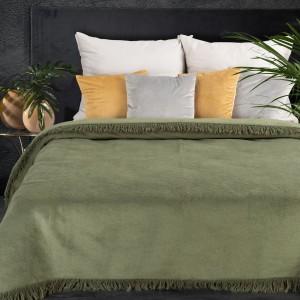 Olivovo zelená hrejivá akrylová deka so strapcami