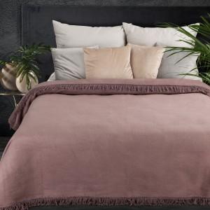 Kvalitná púdrovo ružová akrylová deka so strapcami