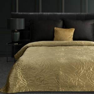 Luxusný béžovo zlatý zamatový prehoz s motívom ľalie