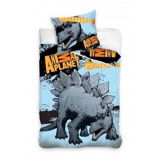 Modré obliečky na detskú posteľ so sivým dinosaurom