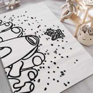 Krásny detský biely koberec kozmonauti