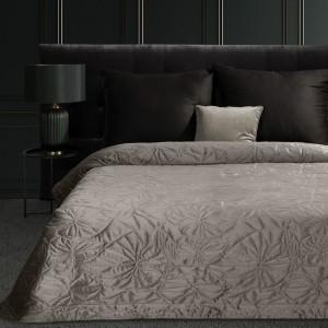 Elegantný grafitový prehoz na posteľ s reliefnym vzor ľalie