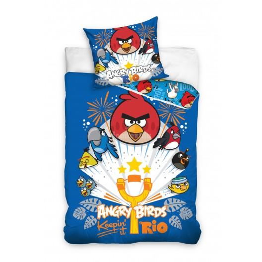 Modrá detská obliečka na posteľ Angry Birds