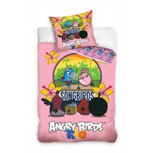 Obliečka na detskú posteľ ružová s Angry Birds