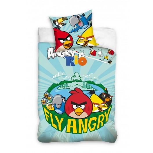 Modré detské obliečky na posteľ s motívom Angry Birds