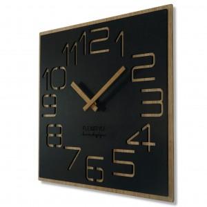 Dizajnové nástené hodiny v kombinácii dreva a čiernej farby 40 cm