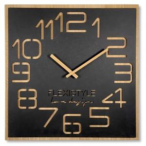 Dizajnové nástené hodiny v luxusnej kombinácia dreva a čiernej farby 60 cm