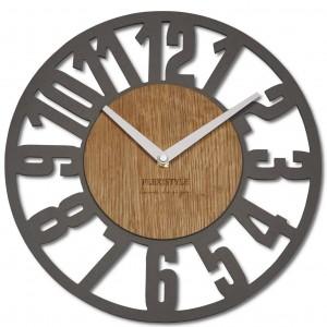 Originálne hodiny s veľkým číslami v kombinácií dreva o modernej sivej farby 30 cm