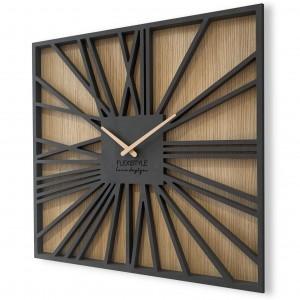 Fenomenálne hranaté hodiny v kombinácií dreva a luxusnej čiernej farby 50 cm
