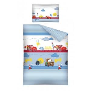 Detské posteľné obliečky modré s červenými autíčkami