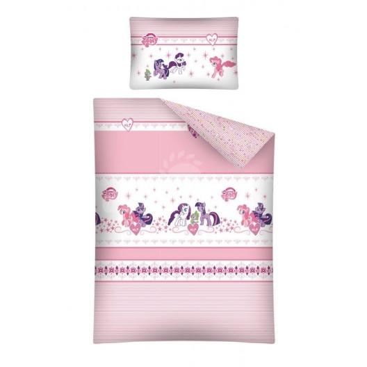 Ružové detské posteľné obliečky s poníkmi