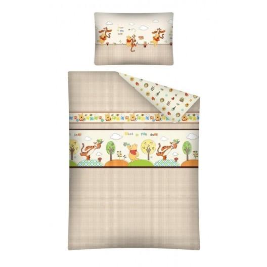 Béžové detské posteľné obliečky macko Pu