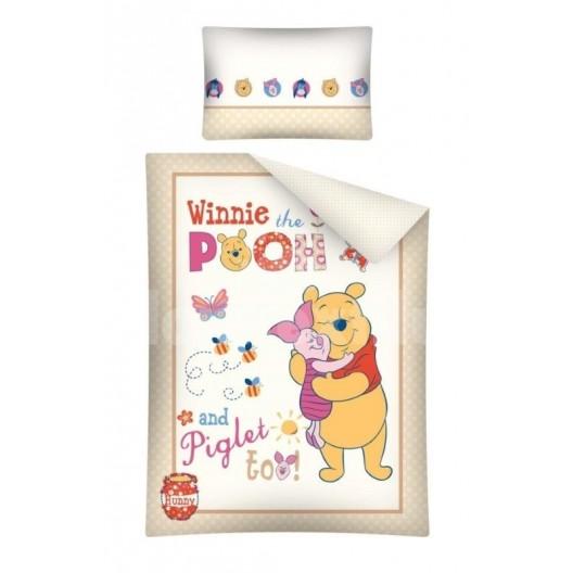 Béžovo biele posteľné obliečky pre deti Macko Pu