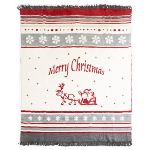 Teplá a príjemná na dotyk sivá deka s vianočným motívom Merry Christmas