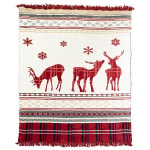 Krásna krémovo červená hrejivá deka so strapcami a vianočnou tématikou