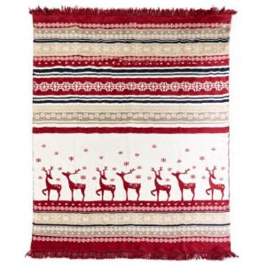 Vianočná červeno béžová teplá deka so strapcami s motívom vianoc