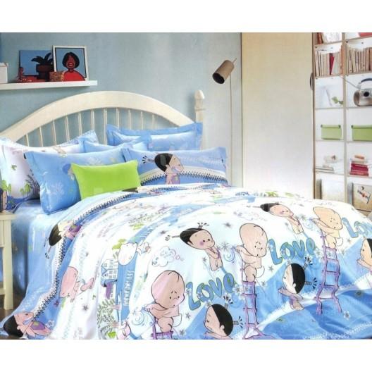 Bielo modré obliečky na posteľ s detským motívom