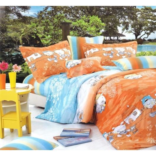 Oranžové obliečky na detskú posteľ s motívom