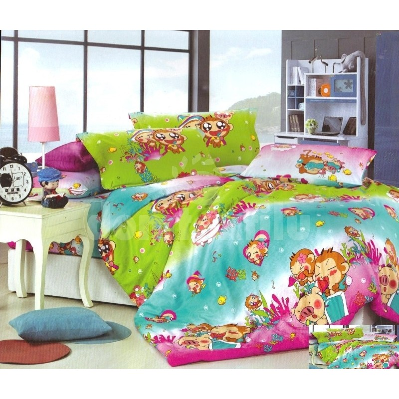 44aac32e8 Zeleno modré detské posteľné obliečky s opičkami - domtextilu.sk