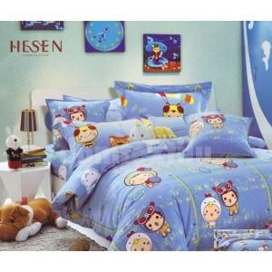 Modrá detská posteľná obliečka s detskou potlačou