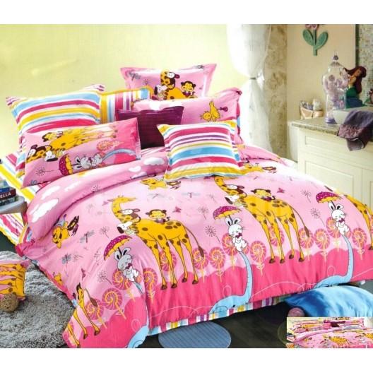 Ružové detské posteľné obliečky so žirafami