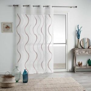 Krásna biela záclona na kruhy s ornamentom 140 x 240 cm SKLADOM