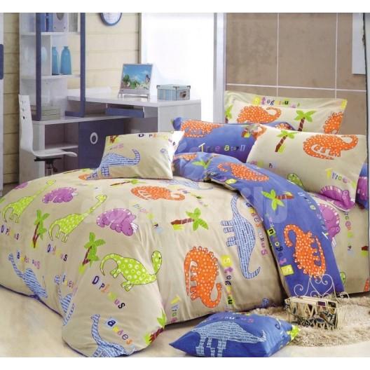 Detské posteľné obliečky béžovej farby s dinosaurami