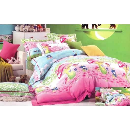 Modro ružová obliečka na detskú posteľ s hríbikmi