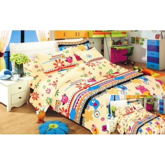 Obliečka na detskú posteľ žltá s vtáčikmi
