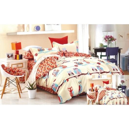 Obliečky na detskú posteľ s farebnými sovičkami