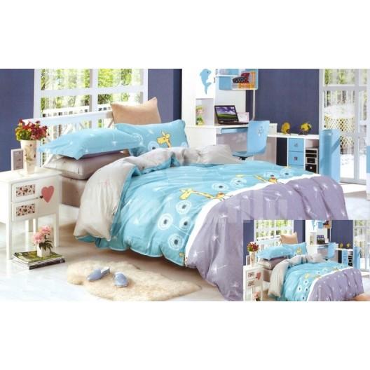 Sivo - modré obliečky na posteľ pre deti so žirafou
