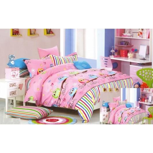 Obliečka na detskú posteľ ružová so sovičkami