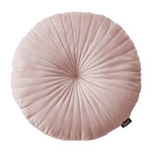 Krásny ružový zamatový okrúhly vankúš priemer 45 cm