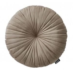 Béžový okrúhly zamatový dekoračný vankúš 45 cm
