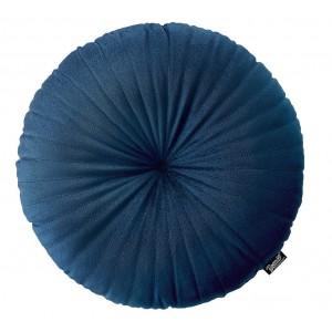 Tmavo modrý dekoračný okrúhly vankúš 45 cm