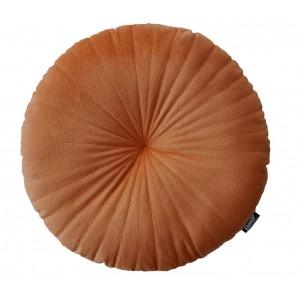 Zamatový okrúhly vankúš v krásnej medenej farbe 45 cm