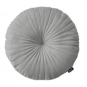 Svetlo sivý okrúhly zamatový dekoatívny vankúš 45 cm